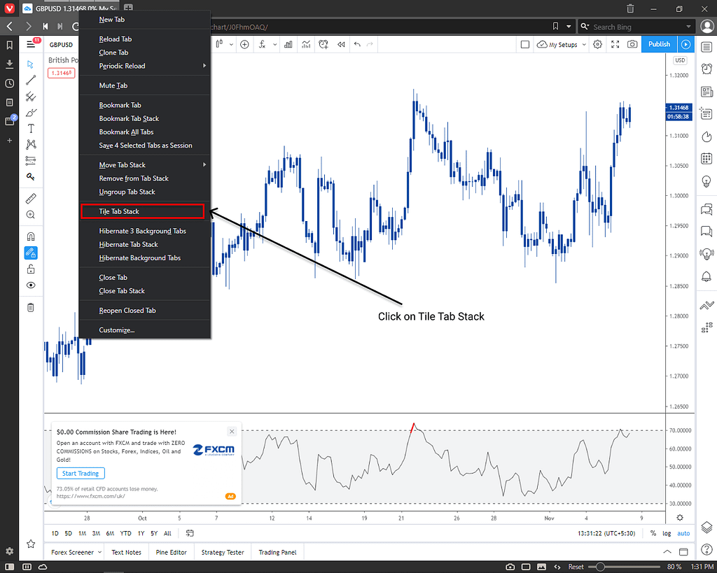 Forex chart mutiple chart in one window